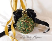 Hanging Quilted Ornament Ball Christmas Holiday Decoration Ornament Holly with Black
