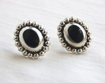 Black Mexican Earrings Sterling Silver Oval Posts Studs Vintage Colonial Style Gothic Jewelry