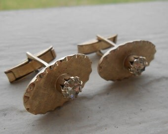 SALE: Vintage Gold Rhinestone Cufflinks. Wedding, Men's, Father's Day, Christmas Gift, Dad.