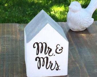 Wedding Decor - Mr. & Mrs. Saltbox Cottage, Rustic, Whitewashed, Wood