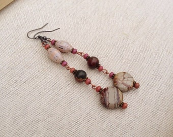 Picasso jasper & tan paper bead earrings ~ One of a kind paper bead jewelry