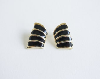 Vintage Gold Enamel Abstract Wing Earrings