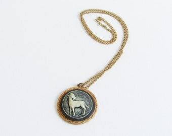 Vintage Ram Cameo Necklace / Gold Aries Cameo Necklace