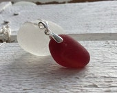 Red End Of Day Sea Glass Sterling Silver Necklace