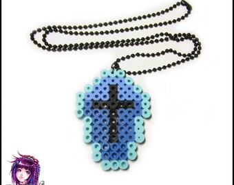 Pastel Blue Kawaii Coffin Perler Bead Pixel Art Necklace
