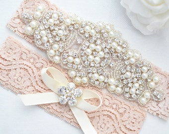 BLUSH PINK SALE Crystal pearl Wedding Garter Set, Stretch Lace Garter, Rhinestone Crystal Bridal Garters
