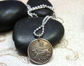 Coin Jewelry - Vintage Israel COIN NECKLACE with roaring Lion of Megiddo - Israel coin pendant - man gift - woman - Hanukkah