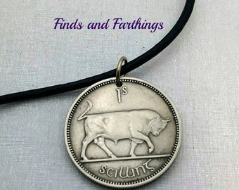 Bull Necklace. Taurus pendant. 1966 IRELAND BULL COIN necklace. 50th. Irish harp. Year of the Ox. Irish necklace. man necklace. Mens gift
