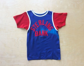 Vintage 1950s Sterling Bank Ringer T-Shirt Felco Athletic Basketball Jersey