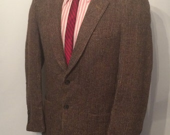 Vintage MENS Harris Tweed for Arthur Richards dark brown wool tweed jacket, sport coat or blazer, tailored in U.S.A.
