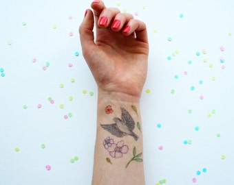 Temporary Tattoos! Bird, flowers and leaves, A6 sheet ~ FESTIVAL ~