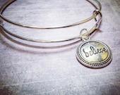 BELIEVE Charm Bracelet - Silver Bangle Adjustable Bracelet - Add a Swarovski Birthstone - Charm Bracelets