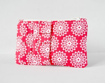 Woman's change pouch ruffle coin purse wallet doily lace print in bright red and white with ruffle.