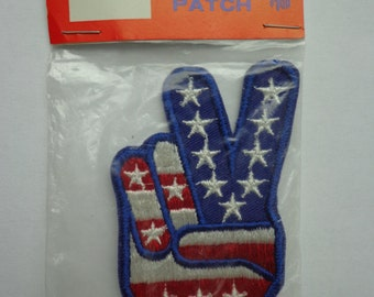 Retro American Flag Finger Peace Sign