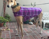 Greyhound Dog Coat & Jacket, XL Dog Coat, Purple, Violet, Hot Pink, and Lavender Plaid Fleece with Charcoal Gray Fleece Lining