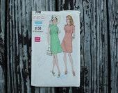 Vogue 7741 1970s 70s Mod Mini Dress Vintage Sewing Pattern  Size 10 Bust 32.5