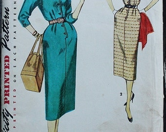 Simplicity 4807 1950s 50s High Collar Wiggle Dress Vintage Sewing Pattern Size 16 Bust 34