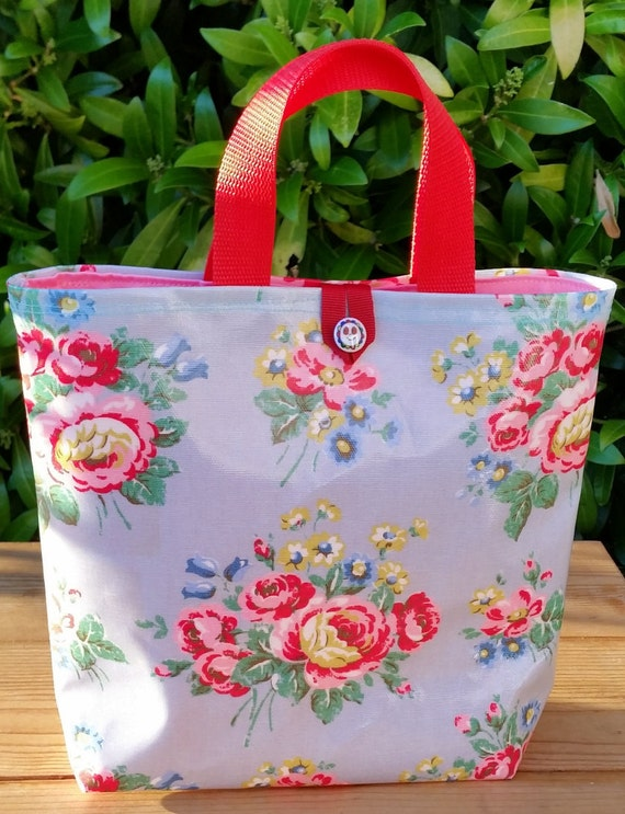 Lunch Bag In Cath Kidston Oilcloth With Pink Lining Smiley