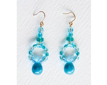 Atlantis Earrings, Czech Glass Multi-blue Hue Earrings, Glass Teardrop Earrings