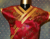 "Vintage Wine Bottle Cover Up, Asian Dress, Red Silk w Gold Trim, Gold Threads, Frog Trim,  9 1/2""L"