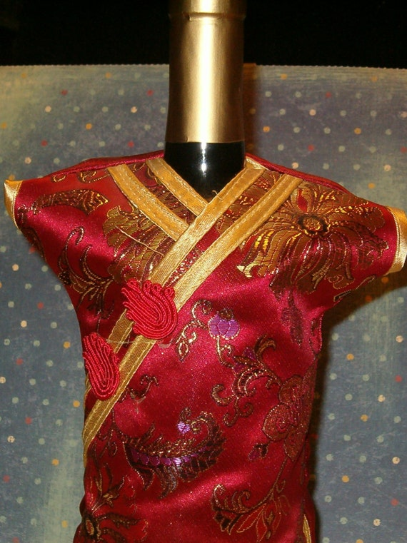 Vintage Wine Bottle Cover Up Asian Dress Red Silk w Gold