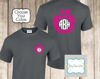 Monogrammed Apple Shirt * Monogrammed Teacher Shirt * Personalized Teacher Shirt * Monogrammed Teacher Gift * Adult Short Sleeved Shirt