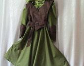 Girl's Tauriel The Warrior Elf Hobbit Woodland Costume: Dress With Hood, Belt, Arm Guards, & Armor Vest, Child's Size 9/10