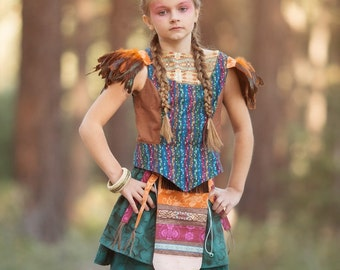 Peter Pan's Neverland Tiger Lily Pirate Costume: Girl's Size 3 to 14, All Cotton Fabric & Faux Feathers And Tail, Ready To Ship