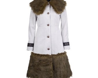 Winter coat with fur, leather and eyelets, women's winter coat, suede winter coat - collection MORENA #3 - size S/36