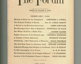 The Forum February 1894 Antique Periodical, Hawaiian Controversy, Nicaragua Canal, Religion in Schools, Woodrow Wilson, Advertising & more