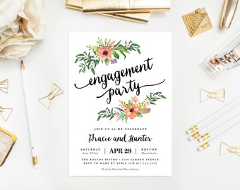 Boho Bride Engagement Party Invitation - Wedding, Invite, Bohemian, Floral, Flowers, Garden, Feathers, Engaged