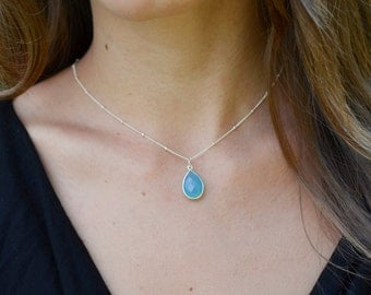 Sky Blue Chalcedony Pendant, Gold or Silver Chalcedony Necklace, Beaded Chain Necklace, 14kt Gold Fill, Blue Chalcedony Teardrop