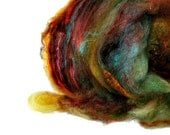 Tuscan Sunset -  felting merino cormo kid mohair mulberry tussah silk antique gold olive green color of merlot