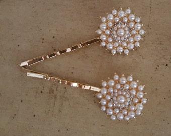 Gold Rhinestone and Pearl Wedding Hair Pins / Wedding Hair Piece  / Bridal Hair Pins / Gold Bobby Pins /  Pearl Bobby Pins / Gold Hairpin