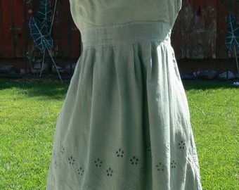 strapless green  cotton tube top dress  size large