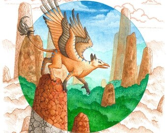 Fantasy Art Print- Beyond Contemplation - 8.5x8.5 Open Edition Print - Fantasy Griffin Art