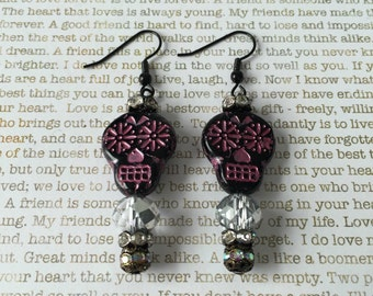 Sugar Skull Earrings In Black And Pink Skulls Day of the Dead Jewelry Skulls Dia de los Muertos All Saints Day Mexican Holidays Cosplay