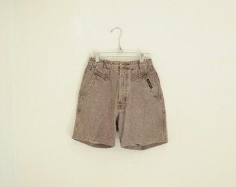 Vintage Rocky Mountain Brown Denim High Waist Shorts, Made in USA, Womens Size 5/6