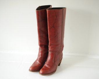 Vintage Dexter Burgundy Leather Boots, Made in USA, Womens 8 1/2 / ITEM119