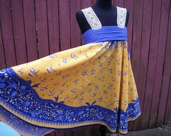 Yellow & Blue Tablecloth Dress with Vintage Lace - Coachella Junk Gypsy Clothing - Small/Medium