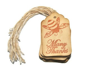 Many Thanks Queen Bee Coffee stained vintage inspired favor gift tags. wishing tree card. primitive. rustic. wedding. scrapbooking