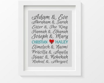 Bible Famous Couples Print, Couples Art, Personalized Christian Couples Gift, Custom Wedding Gift, Bridal Shower Gift