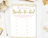 How Old was the Bride to Be Bridal Shower Printable Games, Bridal Shower Games Glitter Confetti Blush Pink Printable Instant Download BR26