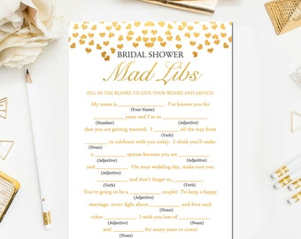 Gold Bridal Shower Games, Gold Bridal Mad Libs Game, Bridal Shower Games Printable Glitter Confetti Mad Libs Instant Download BR23