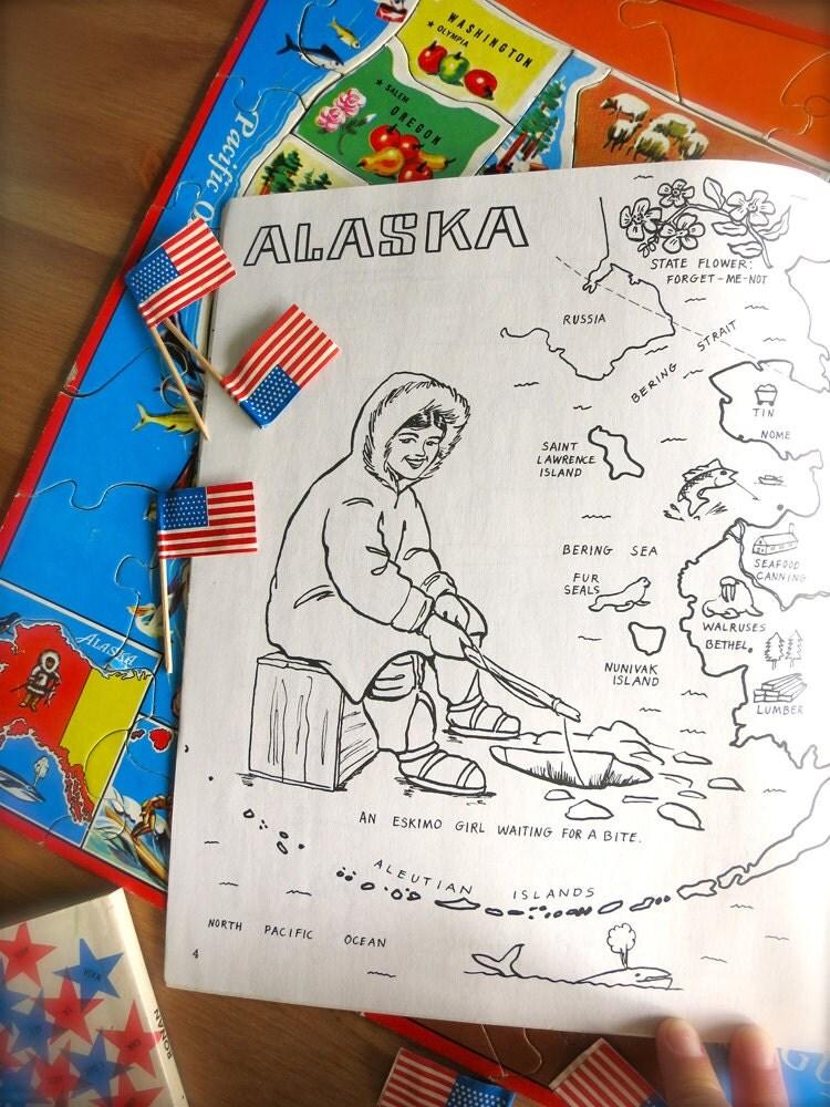 Alaska de Vintage Alaska estado mapa-1980 para colorear libro