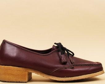 70s Vtg Burgundy LEATHER Oxford Lace Up Gum Sole Platform Shoes / Tassle Tie Granny Nurse Loafer / Hippie Boho / 10 10.5 Eu 41 42
