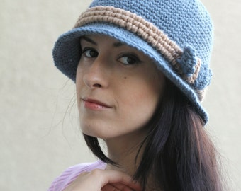 Crochet hat elegant hat cloche hat with a bow classic blue hat formal hat