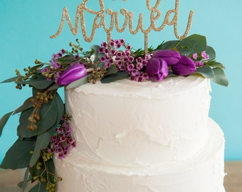 JUST MARRIED wedding cake topper | wooden cake topper | cake topper | wedding decor