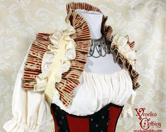 Steampunk Ruffle Shrug -- Red & Ivory Pinstripe, 2 Layer -- Ready to Ship