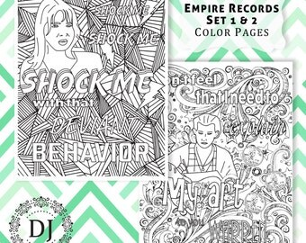 Empire Records Adult Coloring Pages Set 1 & 2 Printed on Sketch Paper